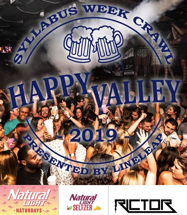 The Bar Crawl is here! Starting at 8pm, first 700 participants through the doors get a complimentary shot. The Natty Team will also be here 10-12 buying you Naturdays and Natty Seltzer. @iamdjrictor Starts at 10pm! Happy Hour 9-12 $2 Dirty Sprites $2 w
