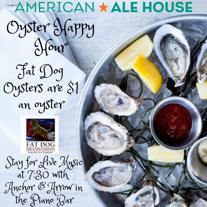 Oyster Happy Hour Thursdays from 4-6 p.m. Today we are featuring Fat Dog Oysters...See you tonight.